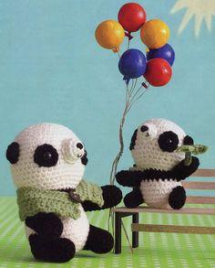 """Crochet Amigurumi Panda Bears Mommy and Baby"" #Amigurumi  #crochet"