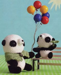 """Crochet Amigurumi Panda Bears Mommy and Baby"" #Amigurumi #crochet"