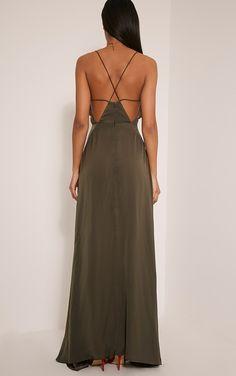 Beccie Khaki Extreme Split Strappy Back Maxi Dress Image 3