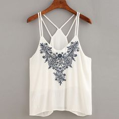 edad07217ab24 Women Flower Embroidered Sleeveless Tank Tops Lady Deep-V Crop Tops