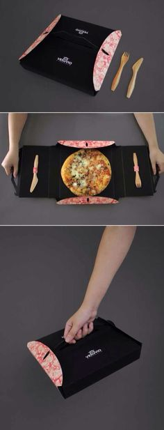 Functional pizza take away box