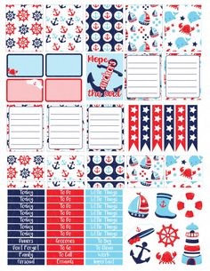 Printable Planner Stickers Nautical Erin Condren by LaceAndLogos                                                                                                                                                                                 Mais