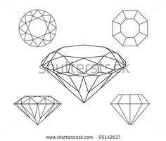 How to draw a simple diamond gemstone pattern easy free ...