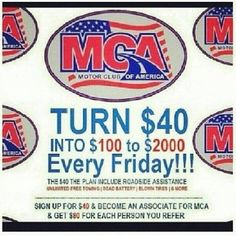 Make money with Motor Club of America! MCA pays $80 for every new customer! Join today!  http://www.mymcany.com/IncomeOpportunity.html