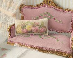 Dollhouse Roses Pillow. 1:12 dollhouse Miniature pillow.
