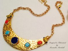 This fabulous hammered & gold leafed lunella features bezeled lapis, turquoise, and coral stones by Alexandra Marshall. Reserved. For information about a similar piece, visit my website, contact me & reference piece #MN2215. Double click photo to visit my website.