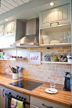 Tiny Kitchen Renovation with Faux Painted Brick Backsplash My goal-brick backsplash and wood countertop. Kitchen Paint, Kitchen Redo, Kitchen Backsplash, Kitchen Ideas, Backsplash Ideas, Kitchen Storage, Kitchen Brick, Splashback Ideas, Rustic Backsplash