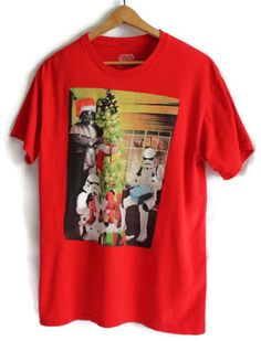 Mens Star Wars T Shirt Size Med Christmas Darth Vader Stormtroopers Red #StarWars #GraphicTee