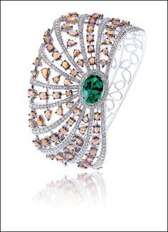 Champagne Diamond, Emerald and Diamond Bracelet by Bapalal Keshavlal