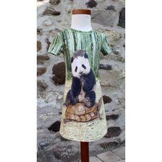 Jurk noelle maat 140 van Stenzo ticot paneel met panda