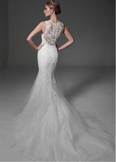 Amazing Tulle & Satin V-Neck Mermaid Wedding Dresses With Beaded Lace Appliques