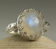 Rainbow Moonstone Ring, Sterling Silver Jewelry, Princess Ring, Floral Band, Victorian Style Ring