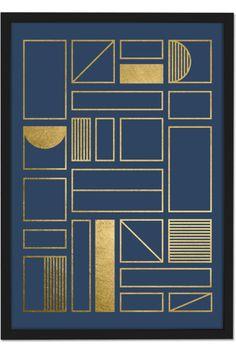 Framework Geometric Grid 50 x 70 Framed Wall Art Print, Navy Blue & Gold Foil Motif Art Deco, Art Deco Pattern, Pattern Design, Print Design, Print Patterns, Frames On Wall, Framed Wall Art, Wall Art Prints, Art Nouveau