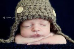 Newborn Button Aviator Ear Flap Hat  taupe by justborn on Etsy, $26.00