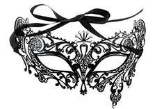 Halloween Royal Black Metal Filigree Venetian Mask with Rhinstones