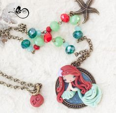 Disney Ariel Halskette/Fimo/auf/Gypsy Disney Prinzessinnen by ZingaraCreativa | Etsy