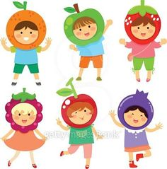 Fruity kids vector image on VectorStock Yoga For Kids, Exercise For Kids, Kids Gardening Set, Kids Going To School, Classroom Birthday, Kids Reading Books, Birthday Charts, Fruits For Kids, Kids Background