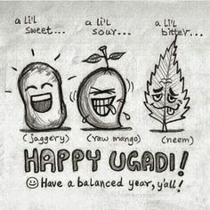 Happy Ugadi to you all Batman Joker Wallpaper, Joker Wallpapers, Festivals Of India, Indian Festivals, Sweet Drawings, Easy Drawings, Telugu New Year, Lil Sweet, Indian Illustration
