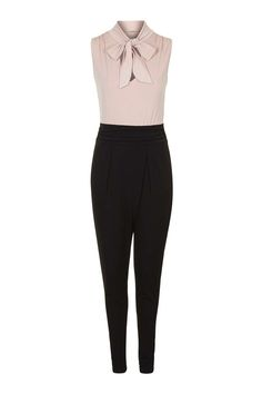 **Pussy Bow Contrast Jumpsuit by Wal G - Playsuits & Jumpsuits - Clothing - Topshop