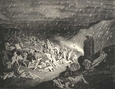 Illustration to Dante's Divine Comedy, Inferno by Gustave Doré. The Rain of Fire