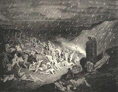 Rain of Fire, Gustave Dore art print (Inferno, Canto 1)