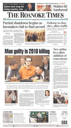 The Roanoke Times front page: Oct. 1, 2013. Sign up for a digital subscription at roanoke.com/subscribe.
