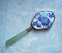 Vintage Chinese Silver, Jade and Porcelain Hand Mirror