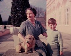 1950: Queen Elizabeth (1900 - 2002), wife of George VI, with her grandson Prince Charles and Pippin the dog. (Photo by Lisa Sheridan/Studio ...