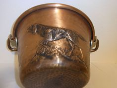 Vintage Hunting Copper Open Fire Cooking Pot Deer Hunting Dog Hand Made #<