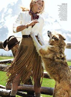 Blake Lively wearing Michael Kors fringed skirt for Vogue US August 2014. #blakelively