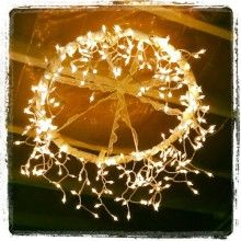 hula hoop chandalier--add different things to it but its great dyi project