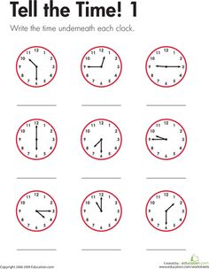 For this worksheet, kids look at each analog clock, determine the time, and write the time in the space provided. This worksheet offers practice telling time to the nearest quarter hour and writing times. Clock Worksheets, 1st Grade Math Worksheets, Math Workbook, Worksheets For Kids, Multiplication Worksheets, Teaching Clock, Teaching Time, Learn To Tell Time, Math Practices
