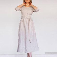 LINEN DRESS midi dress/ long dress / waist dress , Long plus size Linen dress for woman / xs - xxxl / A dress / loungewear Len. Long Midi Dress, Green Midi Dress, Midi Dress With Sleeves, Belted Dress, Vintage Long Dress, Vintage Dresses, Oversized Dress, Linen Dresses, Evening Dresses