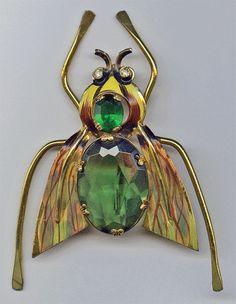 1940s CORO Sterling Enamel & Green Belly Rhinestone Fly Bee Insect Brooch