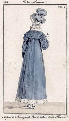 Fur lined blue pelisse. Costume parisien, 1813