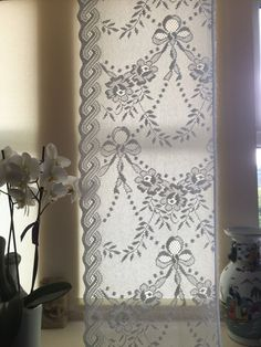 Vintage ribbons and bows Cotton curtain lace by Chateaufelicien