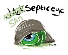 """theonlyfantazy: """"Quick Septic Eye Sam sketch from Jack's instagram pic of the little guy wearing Jack's hat and headphones. … Look out, Jack! Sam's wanting to take your place! P.S. Sam is so therapeutic to draw, I may just steal them!"""