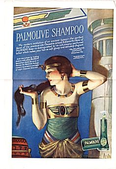 Exquisite 1918 Vintage Jazz Age Ad- Palmolive Shampoo offers Modern Maidens the Secret of Cleopatra's Luminous Beauty!- McMein