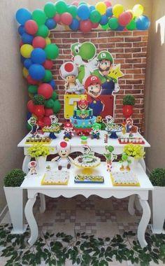 Mario bros Super Mario Party, Super Mario Birthday, Mario Birthday Party, 6th Birthday Parties, Birthday Party Decorations, Mario Und Luigi, Mario Bros., Mario Kart, Princess Peach Party
