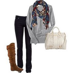Cute and simple. Love the scarf...can get it at rue 21 probably