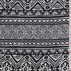 White and black horizontal Aztec stripe print. A lightweight rayon fabric with good drape.Compare to $12.00/yd