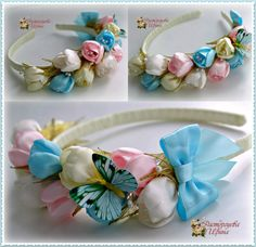 This Pin was discovered by Flo Diy Lace Ribbon Flowers, Kanzashi Flowers, Ribbon Art, Diy Ribbon, Fabric Ribbon, Ribbon Crafts, Flower Crafts, Flowers In Hair, Fabric Flowers