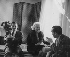 Marilyn with Milton Greene and Edward R. Murrow during discussions at the Ambassador Hotel regarding Marilyn's forthcoming Person to Person interview, April 1, 1955.