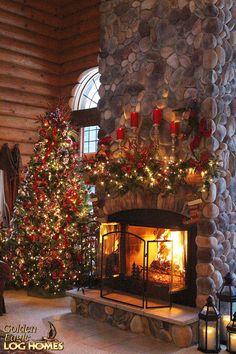 Christmas Snow Holidays Loghome Logcabin Loghomes Logcabins Loghomeliving
