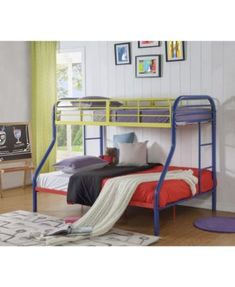 Benzara Contemporary Metal Twin Over Full Bunk Bed with 2 Side Ladders, Blue A Twin Over Full bunk bed with full length guard rails. It incorporates two built-in side ladders. It is made from metal that provides a lasting usage. Twin Car Bed, Twin Full Bunk Bed, Futon Bunk Bed, Contemporary Bunk Beds, Contemporary Style, Modern, Bunk Beds With Drawers, Kids Toddler Bed, Low Loft Beds
