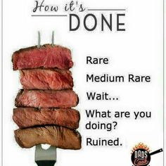Calling all meat lovers! Learn about Meat / Steak Doneness or 'the condition of being cooked to a desired degree' to know what a perfect beef steak is like! Cooking Tips, Cooking Recipes, Cooking Steak, Cooking Shop, Steak Recipes, Meat Steak, Steak Cuts, Medium Well, Eat This