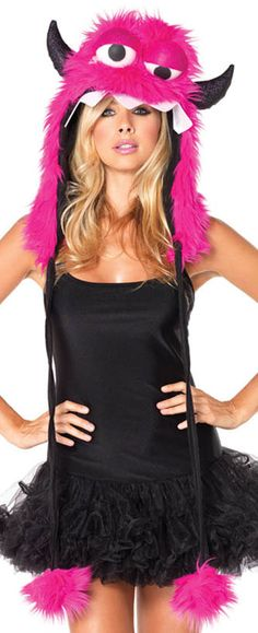 Plush Pink Monster Costume Hood