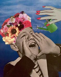 BLOOM WHERE YOU'RE PLANTED#collage #artwork #diy #surrealism #collagist #contemporary #art #melody_a_dit #flowers #vintagecollage #analog