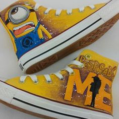 Minions Converse Minions Anime Custom Minions Hand Painted Shoes | HandPaintedShoes - Clothing on ArtFire