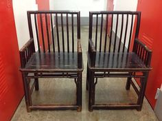19thc Pair Chinese Spindel Back Black Lacquer Armchairs Bamboo Elm WOW!